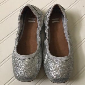 TOMS Girls Silver Sparkle Slip On Flats Shoes